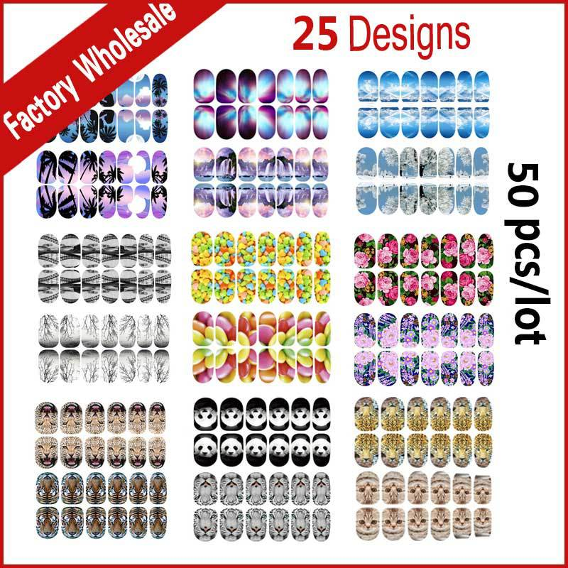 New Nail Art Stickers,50sheets Flowers Animals Mix Designed Glitter Full Nail Patch,DIY Beauty Adhesive Nail Decal Decoration beauty girl 2017 wholesale excellent 48bottles 3d decal stickers nail art tip diy decoration stamping manicure nail gliter