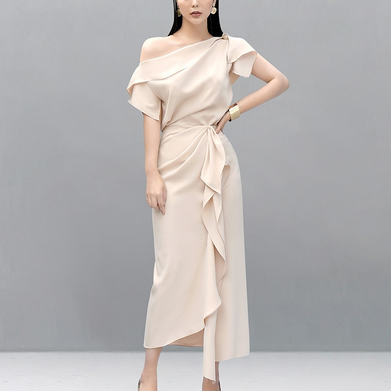 2019 Fashion Show Runway Design Summer Women's Sets Sexy Off Shoulder Ruffles Blouse Top+High Waist Long Skirt Suits 2 Piece Set
