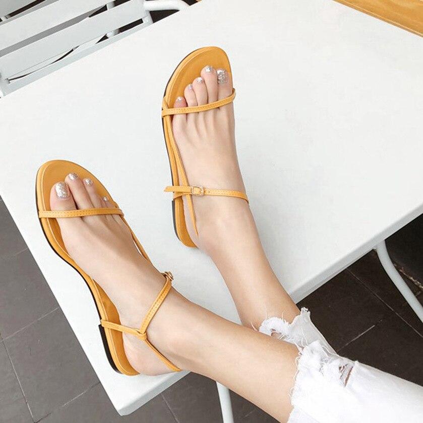 Women Summer Sandals Narrow Band Flat Open Toe Casual Outdoor Shoes Buckle Strap Beach Slides