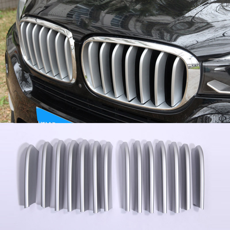 14pcs Front Grill Cover Trim ABS Chrome Sequins For BMW X5 X6 F16 F15 2014 2015