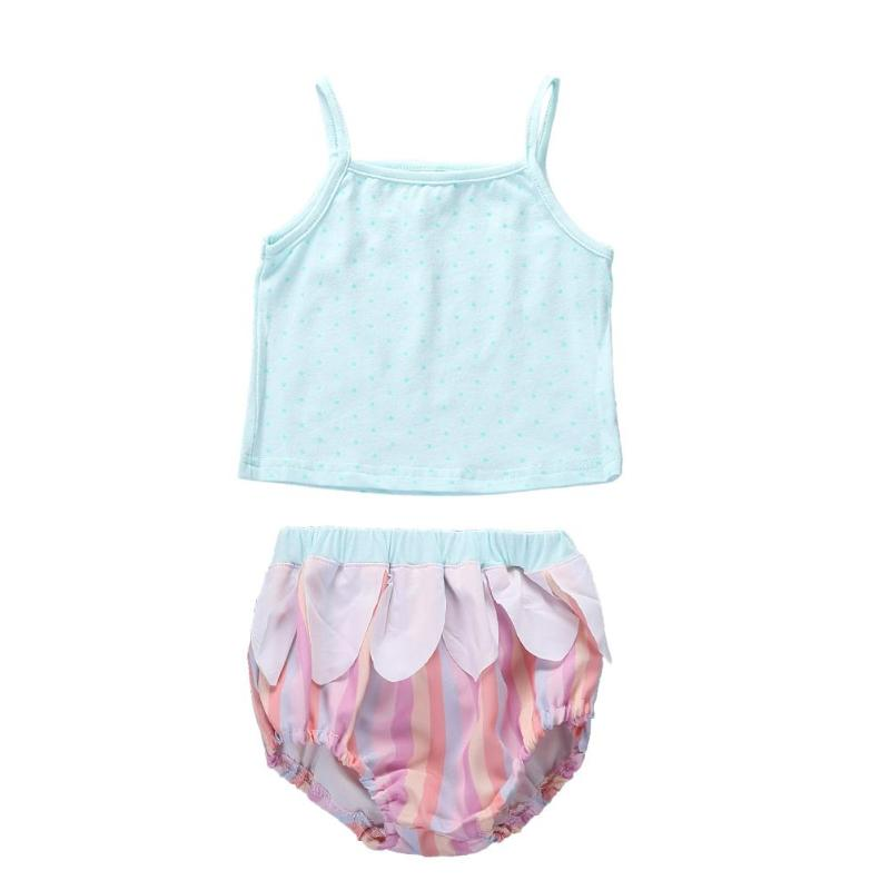 Hot Sale Cute 2pcs 0-24m Baby Girls Summer Clothing Set Strap Dots Print Tank Top Ruffle Shorts Suit for Girls Kids Ideal Gift