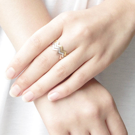 line Shop Fashion Gold Rings filled zig zag band thumb ring