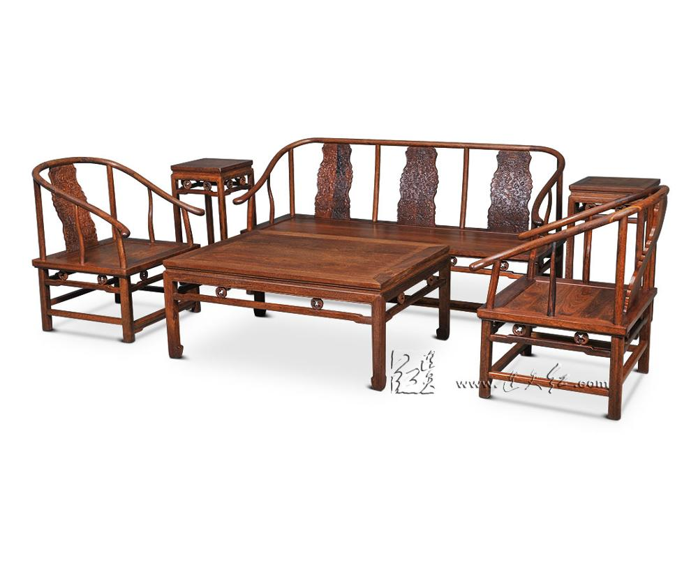 1+ 3 сиденья 6 шт. тройной набор стульев китай Королевский палисандр мебель гостиная твердой древесины диван-кровать костюм красный из сандалового дерева чайная столик - Цвет: 6 pieces Chair Set