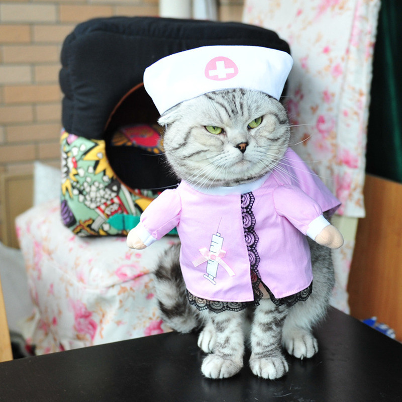 New Hot Sale Cats outfit Pirate small Dogs Puppy pet Costume Clothes funny suit Nurse Un ...