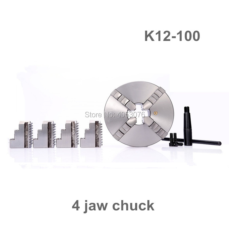 4 100mm 4 Jaw CNC Lathe Chuck Self Centering K12 100 K12 100 Hardened Steel for