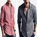 Na primavera de manga comprida xadrez Casual camisa xadrez fino camisa elegante