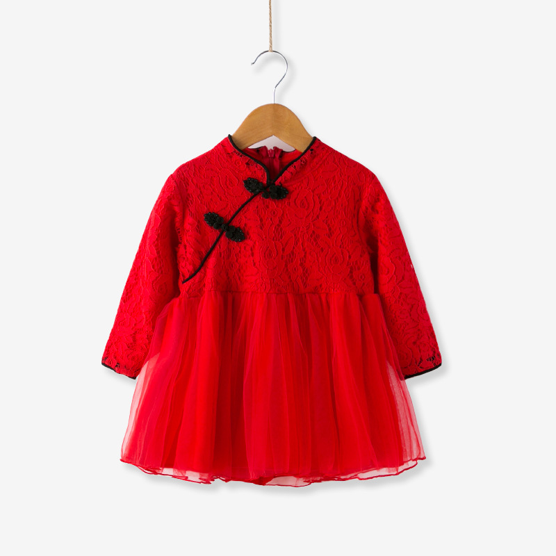 Godier Chinese Doll Style Baby Girls Dress New Spring Red Girls Clothes Long Sleeve Children Ball Gown Dresses Lucky Vestidos hot sale girls dress patchwork long sleeve kids dresses for baby girls ball gown princess dress spring children clothes costume