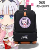 Kobayashi San Chi No Maid Dragon Backpack Kawaii Kanna Backpack Anime Fans Backpack High Capacity Black