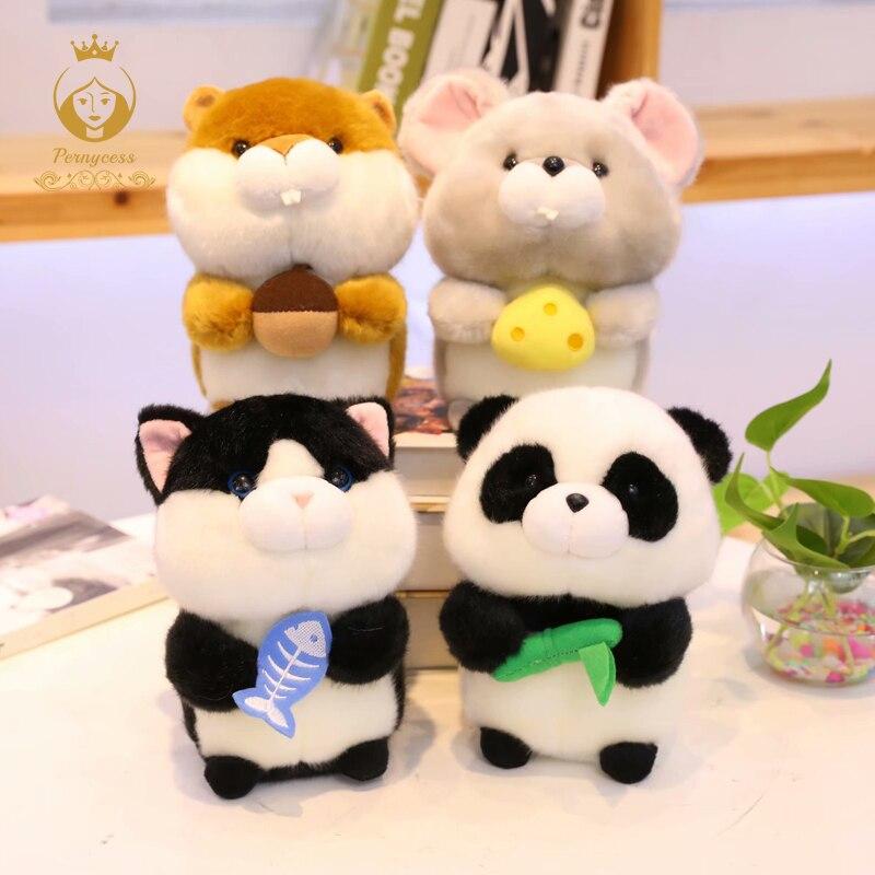 1PCS 18cm Kawaii Squirrel, Cat, Panda, Mouse Plush Toy Creative Mini Simulation Plush Stuffed Animal Kids Toys Birthday Gifts
