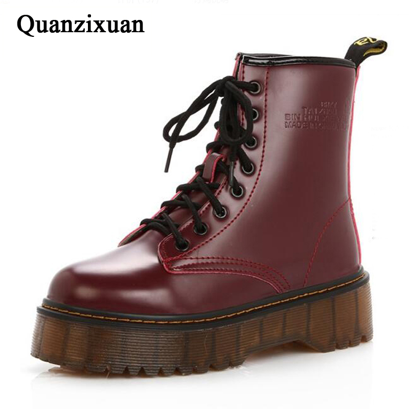 QUANZIXUAN Women Boot High Quality Platform Winter Warm Motorcycle Boots Women Ankle Boots Women's Punk Ankle Boots Women Shoes
