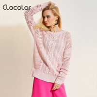Clocolor Women Sweater 2017 Round Neck Loose Pink Long Sleeve Hollow Knitwear Autumn Fashion Top Modern