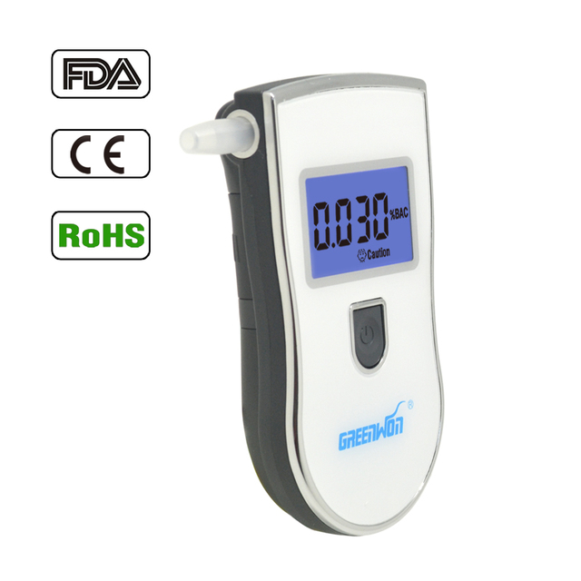 Greenwon Professional White Digital Breath Alcohol Tester Alcohol Breathalyzer Tester With 5 Mouthpiece And Blue Backlight