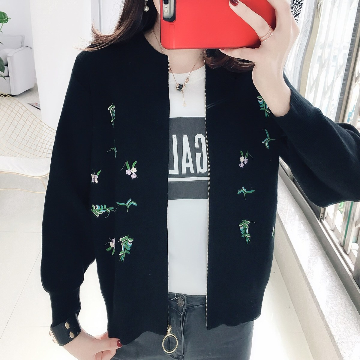 Autumn Sweet Girl Style Embroidery Fashion Solid Cute College Wind Sweater Cardigan