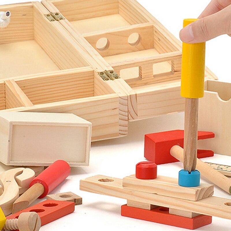 Candywood En Bois Boîte À Outils En Bois 3D Puzzle Boîte À Outils Service Simulation jouets pour Bébé enfants jouets Éducatifs garçon cadeau boîte à Outils jouet - 5