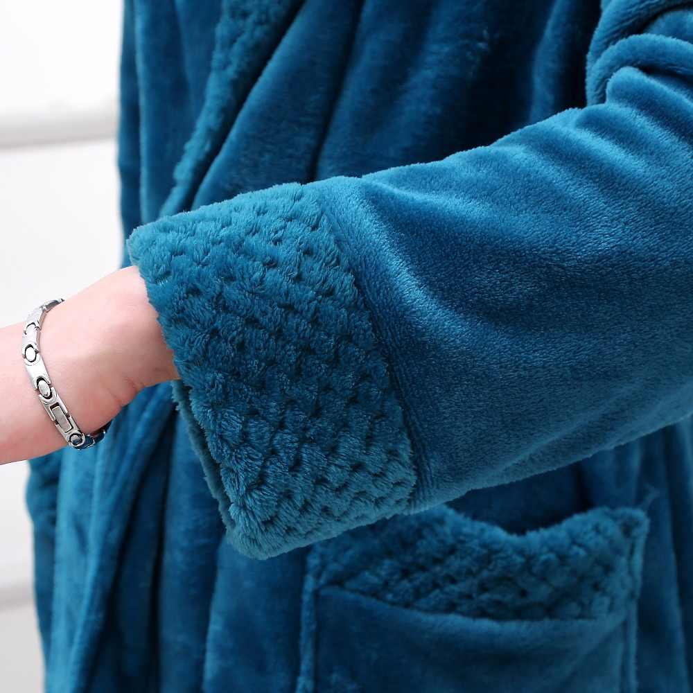 新ファッションメンズ特大ロング暖かいバスローブシルクソフトフランネル冬バスローブメンズ着物ローブ男性バスローブ男