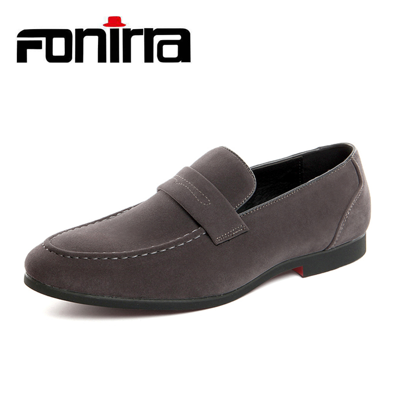FONIRRA Fashion Suede PU Leather Men Loafers Slip on Casual shoes Male Boat Flats Men Moccasins Hombre Plus Size 38 40 778