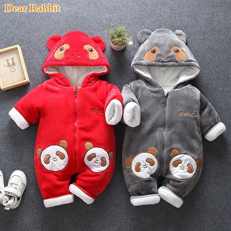 2018 new born Baby bear costume Rompers Winter Boy girls Clothes Cotton Newborn toddler Infant Jumpsuits warm clothing one piece