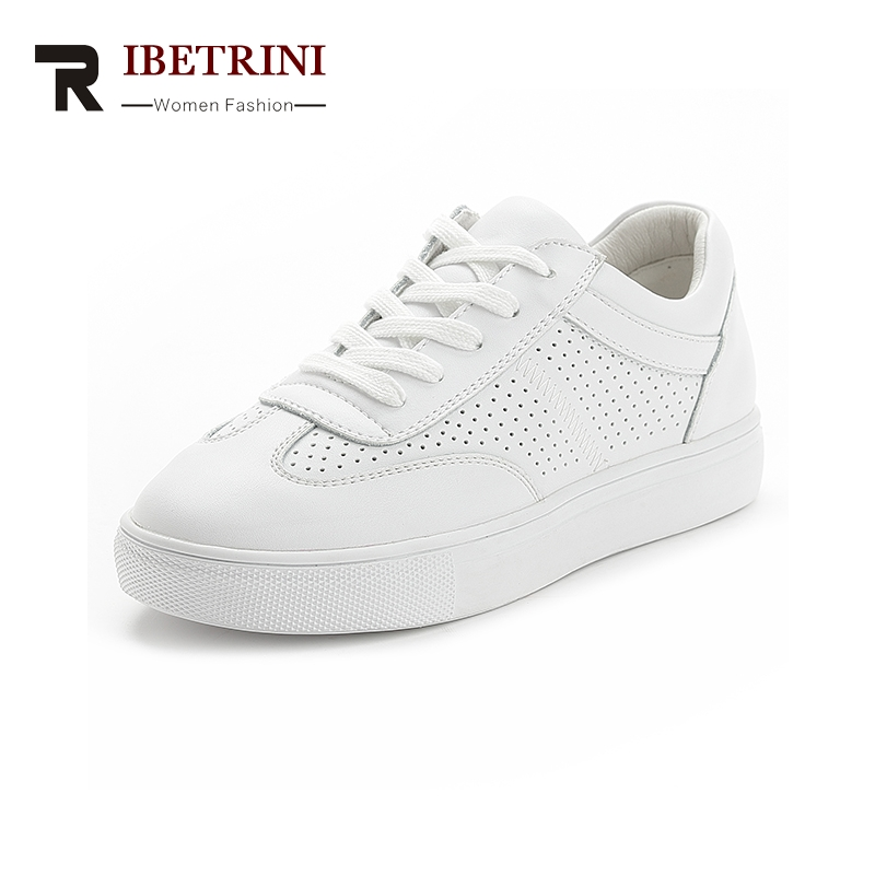 RIBETRINI 2018 Cow Leather Vulcanize Fashion Brand Wholesale Sneaker Lace Up Shoes Woman Soft Women Shoes Woman
