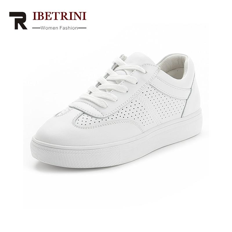 Blanc Chaussures Doux Cuir Mode Marque Pour En Femme De Ribetrini Vache À Lacets Femmes 2019 Baskets Vulcaniser Gros HFqnwT4p