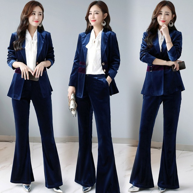 a1364b374e3 Women Business Suits Gold velvet Blazer With Trouser Work Wear Sets Two  Piece Formal Pant Suit