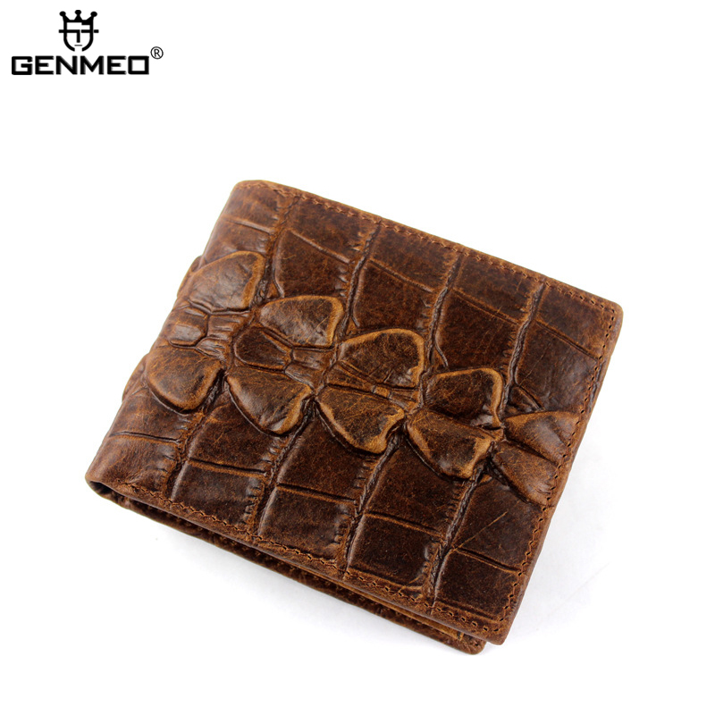 New Arrival Crocodile Genuine Leather Wallets Men Cow Leather Clutch Bag Short Real Leather Credit Card Holder Coin Purse Bolsa купить