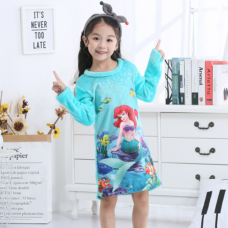Winter Flannel nightdress 2018 New girl long sleeved cute nightgown children cartoon sleepwear kid Princess Dress Christmas gift spring new women long dress nightgowns white short sleeved nightdress royal vintage sweet princess sleepwear dress free shipping