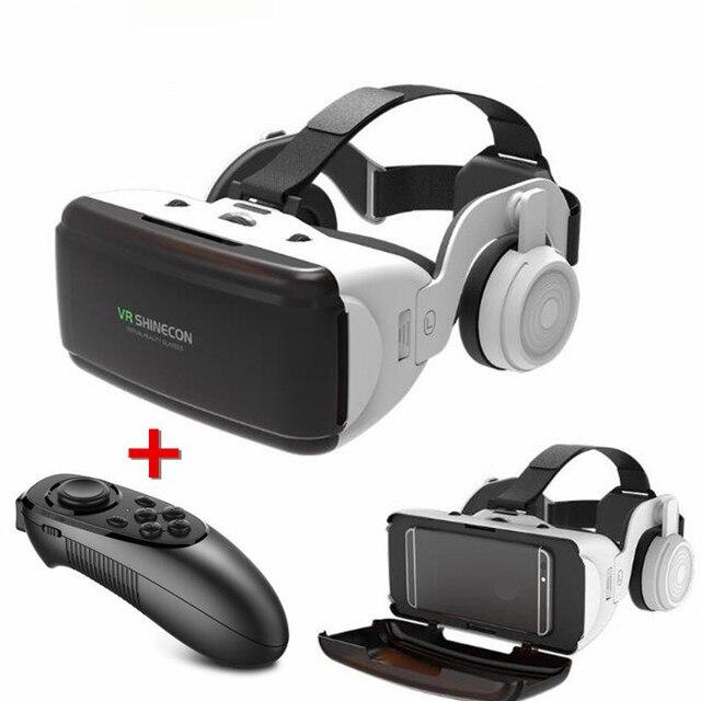Original VR Virtual Reality 3D Glasses Box Stereo VR Google Cardboard Headset Helmet for IOS Android Smartphone,Bluetooth Rocker