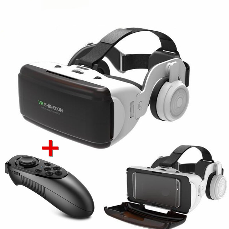 Original VR Virtuelle Realität 3D Gläser Box Stereo VR Google Karton Headset Helm für IOS Android Smartphone, Bluetooth Rocker