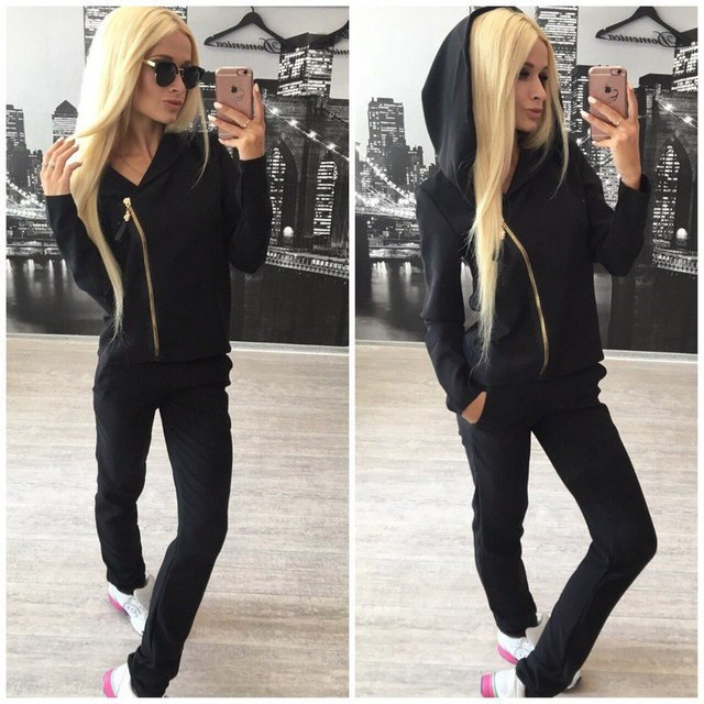4b6b170b04f59 Blanco negro Rosa traje deportivo Mujer ropa deportiva chándal mujeres  unidades 2 piezas conjunto mujeres traje