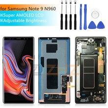 Samsung Galaxy not 9 için lcd ekran dokunmatik ekranlı sayısallaştırıcı grup n960 N960F N960D N960DS not 9 ekran + çerçeve onarım parçaları