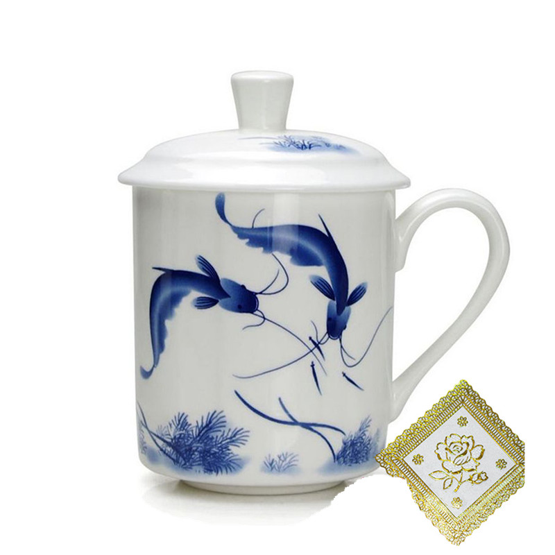 New Ceramic Bone China Tea Cup Mug With Cover Blue and White Porcelain Mark Personal Drinkware Office Gift 12.6