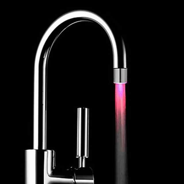 Ishowtienda LED Lampu Air Keran Ketuk Kepala RGB LED Glow Aliran Shower Kran Shower Kamar Mandi 7 Warna Berubah