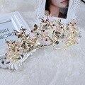 Barroco de oro rosa de la vendimia de la libélula de cristal coronas de novia hecho a mano del pelo de la boda accesorios tiaras de novia tocado diadema corona