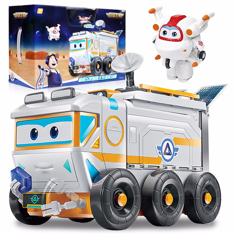 2018 Newest Transformation Super Wings Space Exploration Scene Shop Truck Action Figures Super Wing Deformation Moon Rover Toys