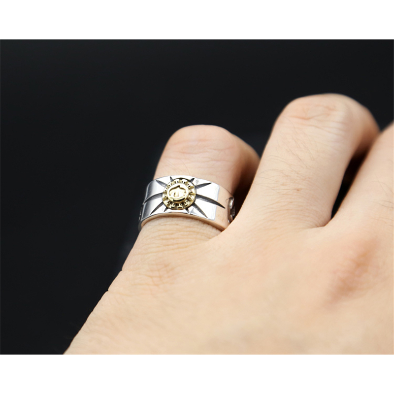 100 Pure 925 Sterling Silver Jewelry Feather Rings Bird Opening Vintage Men Signet Ring For Women Fine Gift 0152 in Rings from Jewelry Accessories