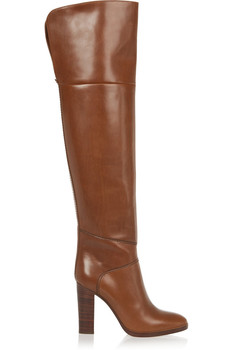 Top Selling Pu Leather Chunky Heels Brown Boots Women Slip-on Round Toe Thigh High Boots Runway Fashion Casual Dress Long Boots
