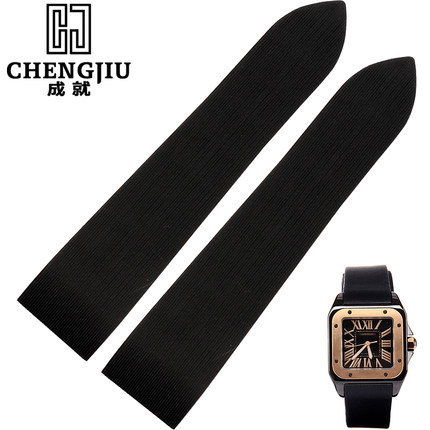 Vintage Silicone Rubber Watchband For Cartier Santos 100 W2020007 25 Mm Watch Strap Belt Bracelet Men Correas Reloj Orologi 25mm In Watchbands From Watches