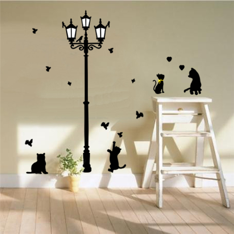 Removable Lamp Cats Birds Wall Stickers For Kids Living Rooms Bedroom Decoration Decals Children Art Wallpapers