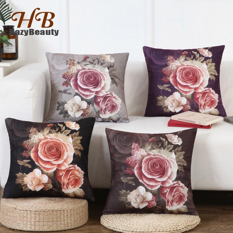 Luxurious Rose Cushion Cover Print Pillowcase 45x45cm Flower Cushion Cover Sofa Square Decorative Throw Pillow Case for Car