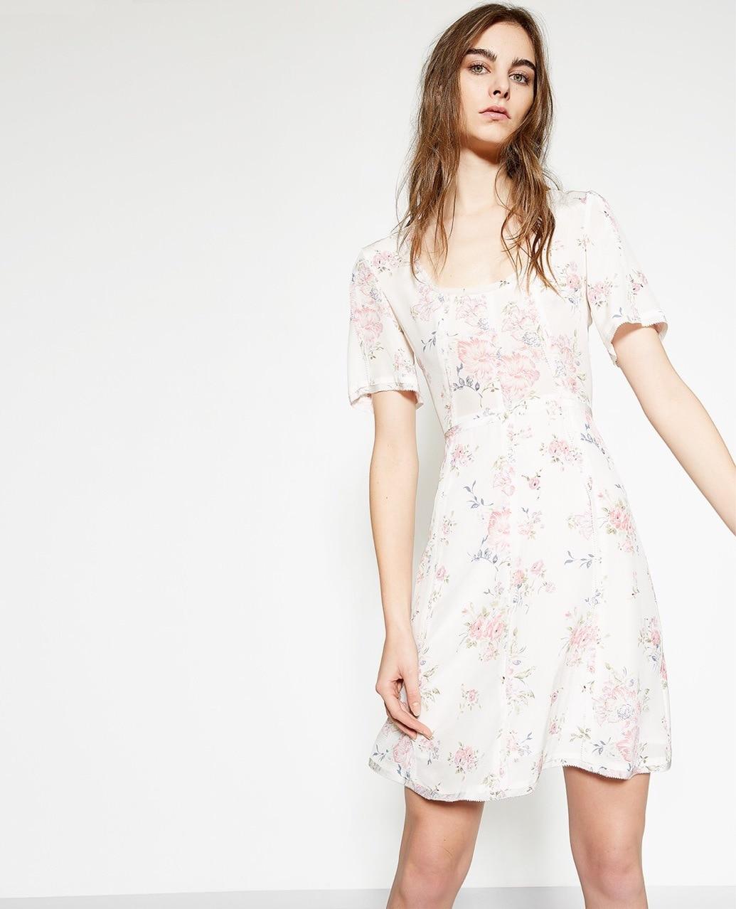 Soie Femme Imprimé Floral Frais Robe Manches Courtes Pour Blanc zqwE5US1