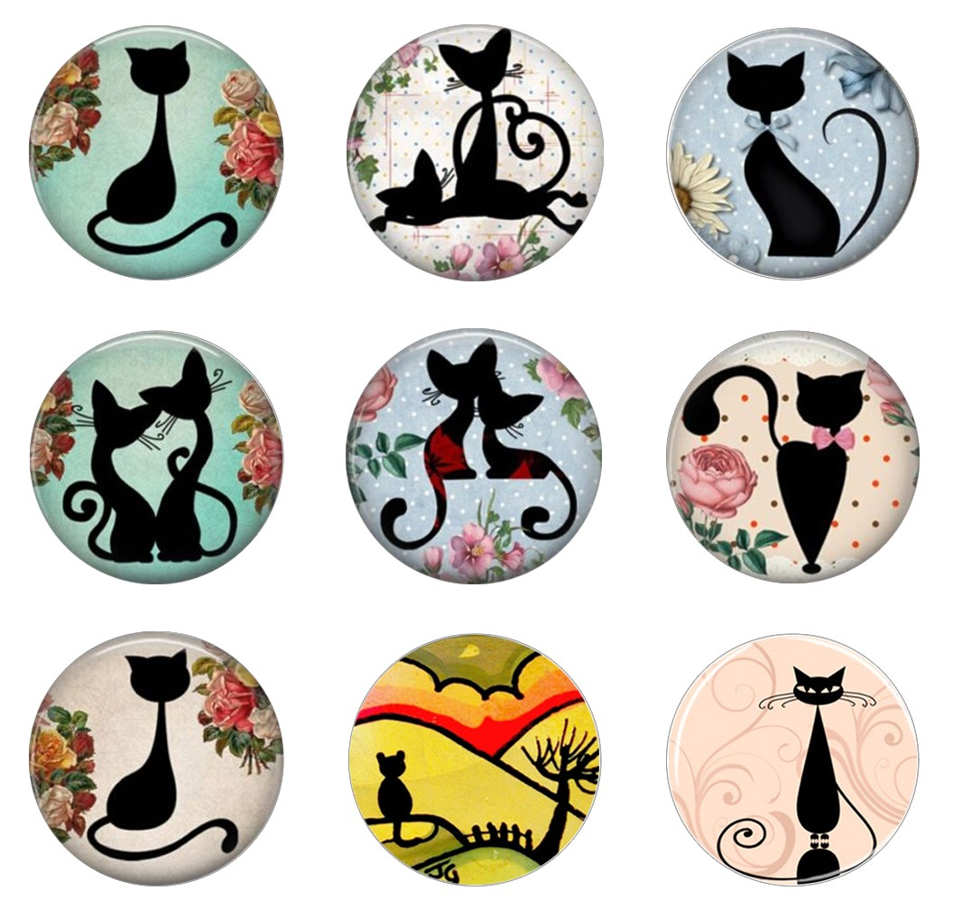 Hot Sale 5pcs16mm20mm25mm Shabby Chic Cat Silhoette  Animal Handmade Photo Glass Drop Style Cabochons Jewelry Accessories