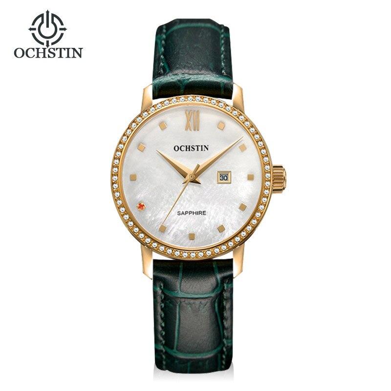 Classic Fashion Casual Dress Watch Women Elegant Quartz Diamond Wrist Watches Ladies Wristwatch Pear Dial Leather