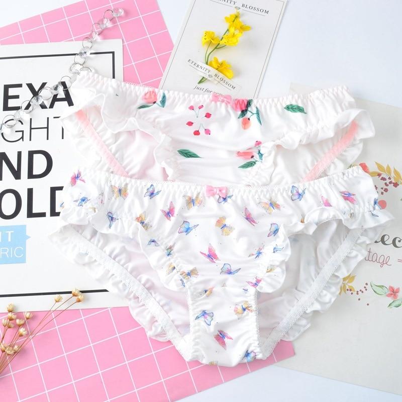 Japanese Style Milk Silk Cute Lovely Sweet   Panties   for Women Low Waist Ruffle Soft Female Underwear Soft Flower Princess Breifs