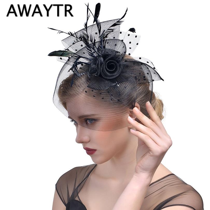 Women's Hat Clips AWAYTR Elegant Feather   Headwear   Fascinator Hat Clip Party Wedding Bridal Birdcage Veil 2018 Hair Accessories