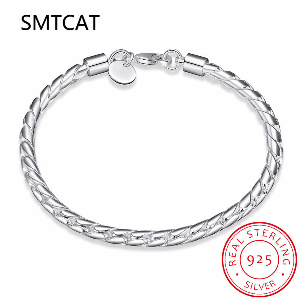 New Arrivals 4MM twisted chain 20cm 925 Sterling Silver Bracelets & Bangles For Women men sterling-silver-jewelry
