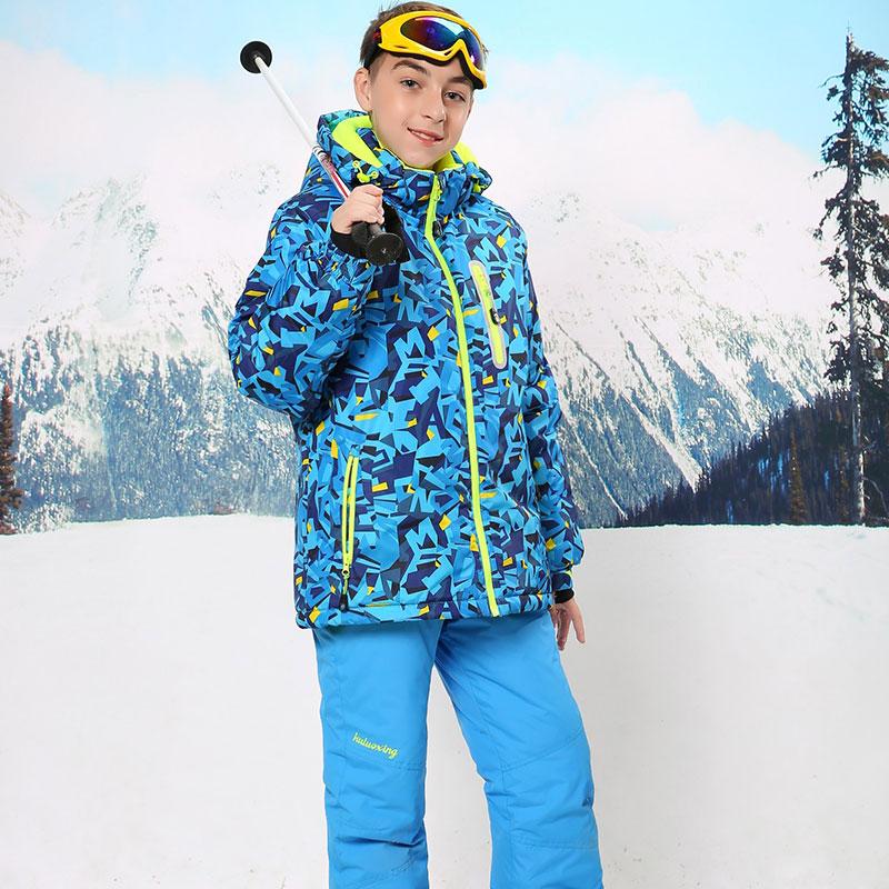 ФОТО Russian Winter Children Clothing Sets Boys Ski Suit Outdoor Windproof Waterproof Boys Ski Jacket+Bib Pants for 6-16Y