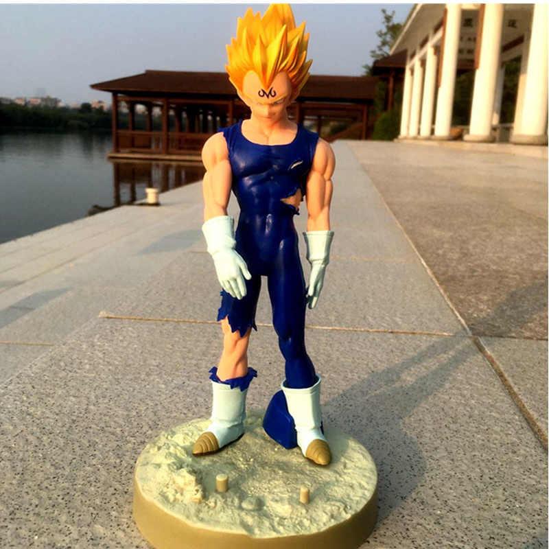 20CM 2 unids/set Bola de dragón amarillo pelo Vegeta bañadores de juguete con base figura Saiyajin figuras de la muñeca de la decoración niños regalo Z7