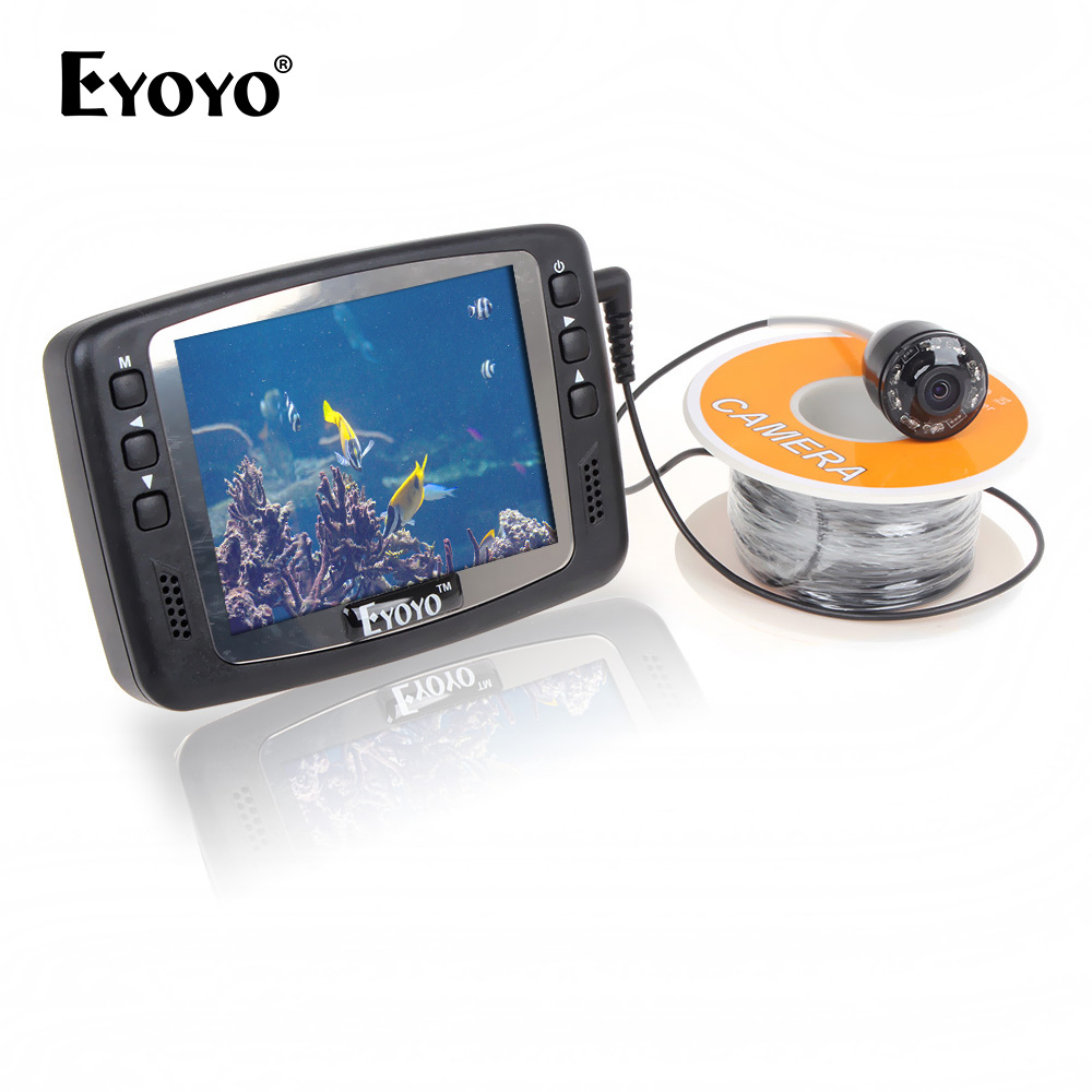 Eyoyo Original 1000TVL Underwater Ice Video Fishing Camera Fish Finder 15m Cable 3.5'' Color LCD Monitor infrared LED eyoyo original 7hbs 15m underwater fishing camera fish finder 4 3 lcd monitor 1000tvl cam 8pcs infrared led sunvisor orange