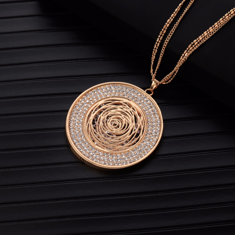 Statement Necklace For Women Fashion Jewelry CZ Crystal Golden Silvery Long Statement Necklaces & Pendants Collier Femme