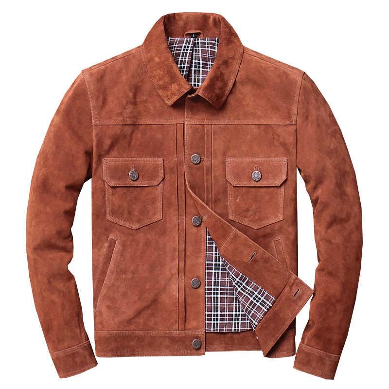 2019 חום גברים אמריקאי מזדמן סגנון עור מעיל יחיד חזה Plu גודל XXXXL אמיתי פרה זמש אביב קצר עור מעיל